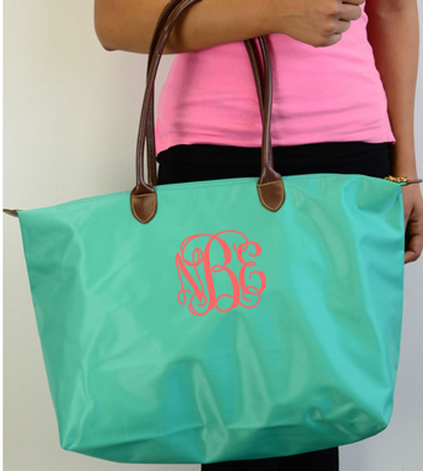 Monogrammed Medium Longchamp Style Tote Bag  www.tinytulip.com Teal Bag with Coral Interlocking Monogram