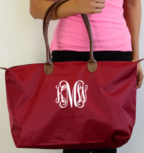 Monogrammed Medium Longchamp Style Tote Bag  www.tinytulip.com White Interlocking Font