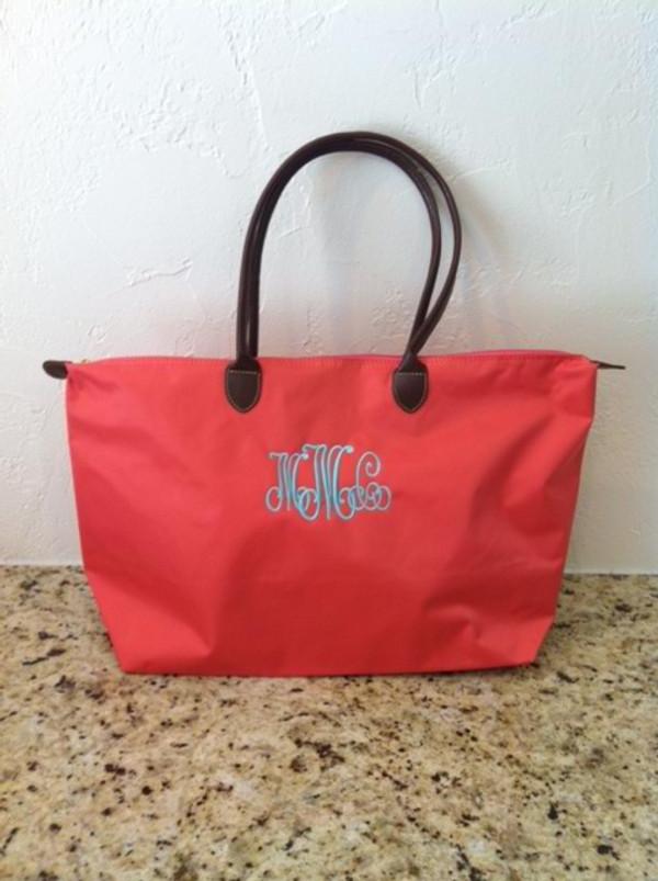 Monogrammed Medium Longchamp Style Tote Bag  www.tinytulip.com