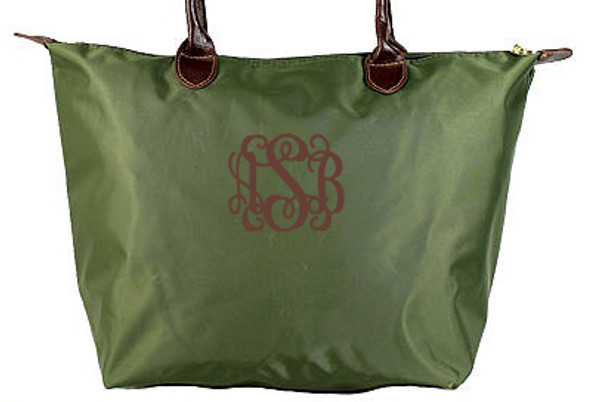 Monogrammed Medium Longchamp Style Tote Bag  www.tinytulip.com Olive with Brown Interlocking Font