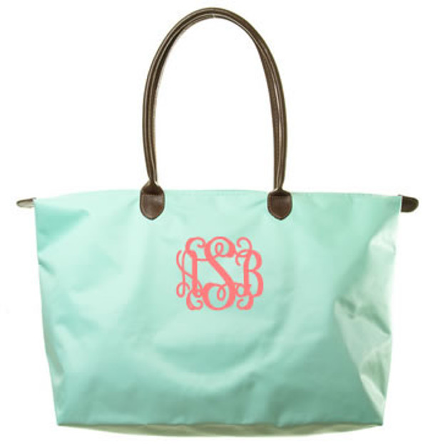 Monogrammed Medium Longchamp Style Tote Bag  Mint with Coral