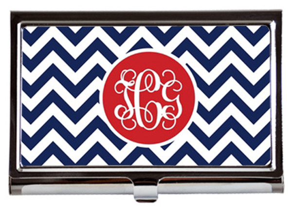 Monogrammed Business Card Case  www.tinytulip.com Navy Tiles with Solid Circle Red Interlocking Font