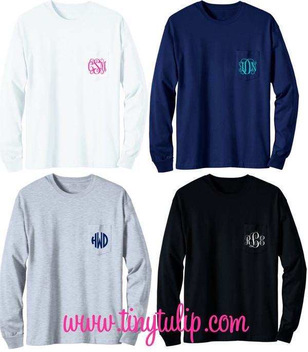 Long Sleeve Monogrammed T Shirt   www.tinytulip.com