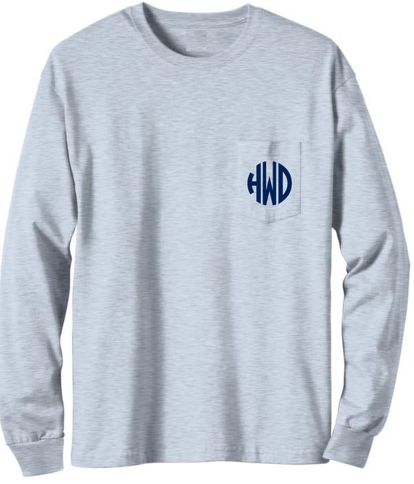 Long Sleeve Monogrammed T Shirt   www.tinytulip.com Gray with Navy Circle Monogram