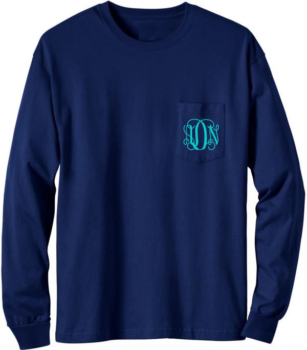 Long Sleeve Monogrammed T Shirt   www.tinytulip.com Navy with Turquoise Interlocking Monogram