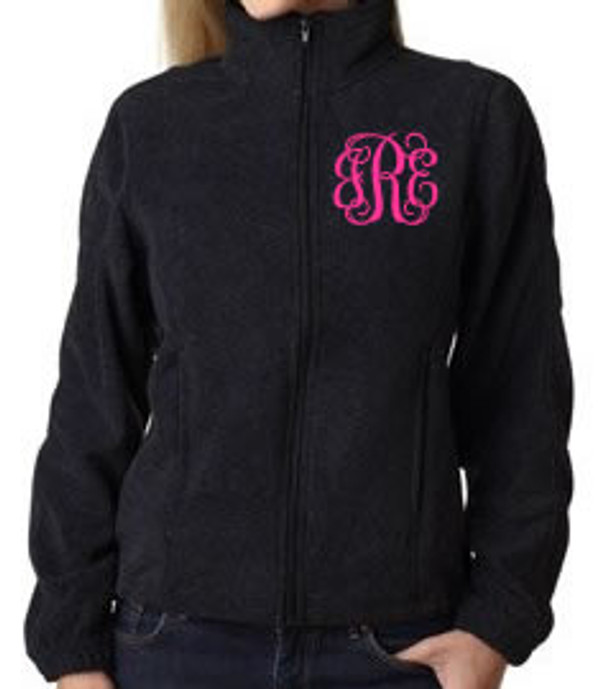 Monogrammed Fleece Jacket North Face Style  www.tinytulip.com Black with Hot Pink Interlocking Font