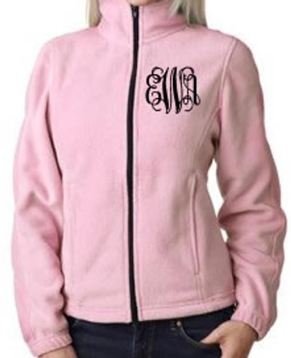 Monogrammed Fleece Jacket North Face Style  www.tinytulip.com Pink Jacket with Black Interlocking Font