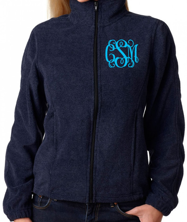 Monogrammed Fleece Jacket North Face Style  www.tinytulip.com Navy with Turquoise Interlocking Font