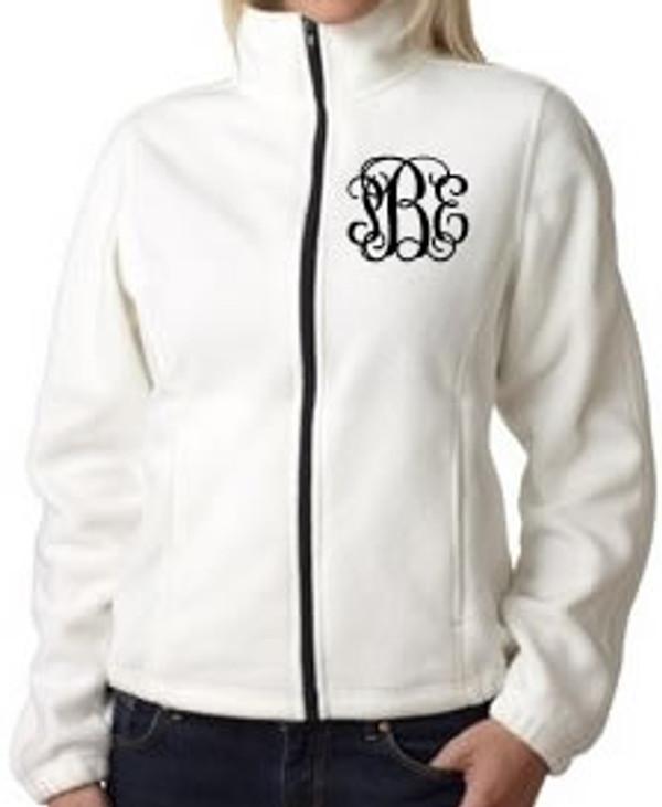 Monogrammed Fleece Jacket North Face Style  www.tinytulip.com Cream Jacket with Black Interlocking Font