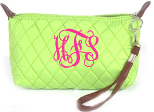 Monogrammed Quilted Wristlet Clutch   www.tinytulip.com Lime Green with Hot Pink Interlocking Font