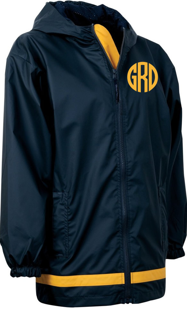 Monogrammed Raincoat Windjacket Youth   www.tinytulip.com Navy Raincoat with Yellow Circle Font