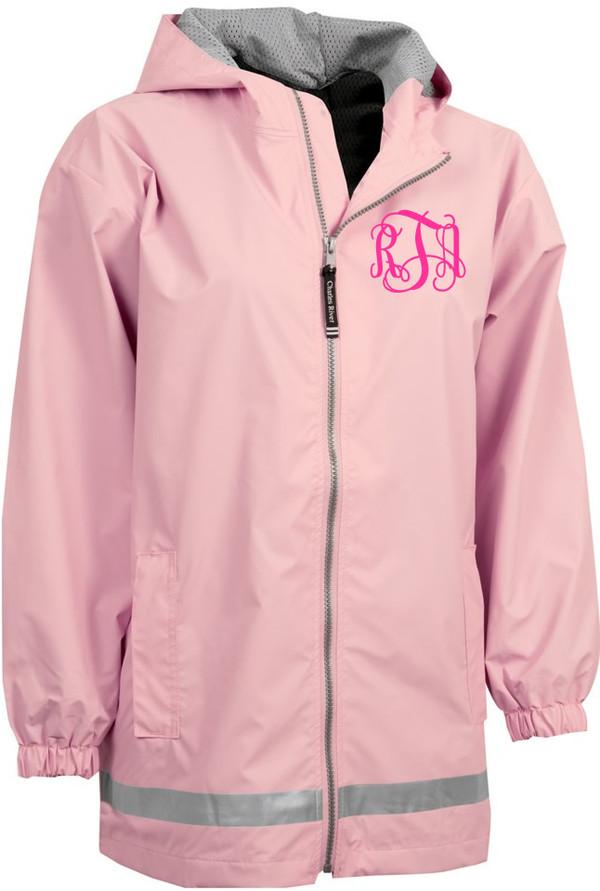 Monogrammed Raincoat Windjacket Youth   www.tinytulip.com Pink Raincoat with Hot Pink Interlocking Font