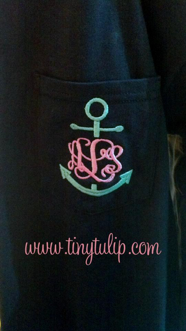 Anchor Monogrammed Long Sleeve Tshirt    www.tinytulip.com