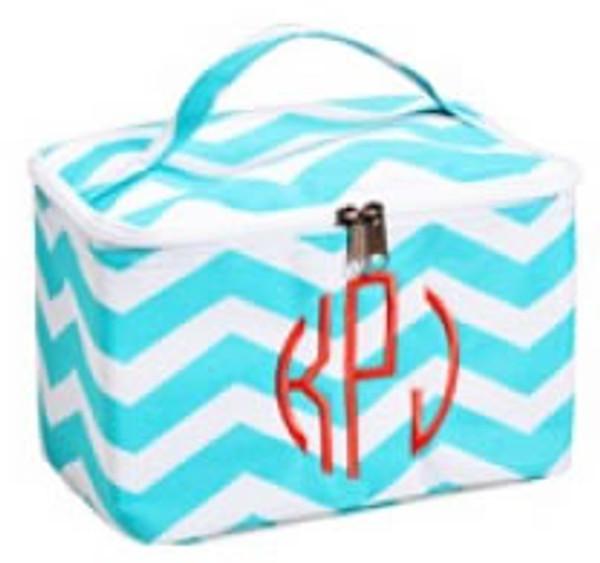 Monogrammed Chevron Mini Cosmetic Bag  www.tinytulip.com Circle font in Coral