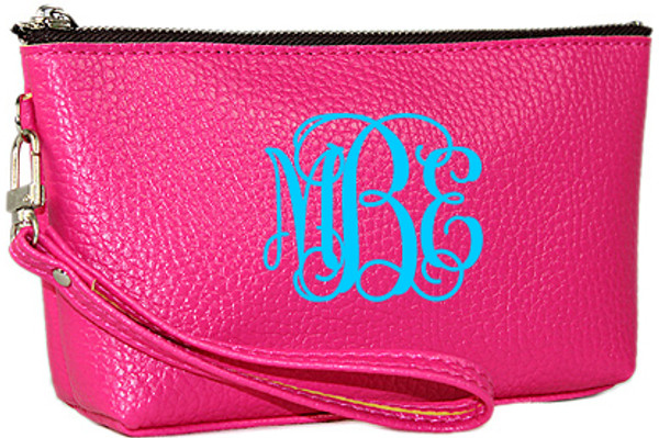 Monogrammed Leatherette Wristlet www.tinytulip.com Hot Pink with Turquoise Interlocking