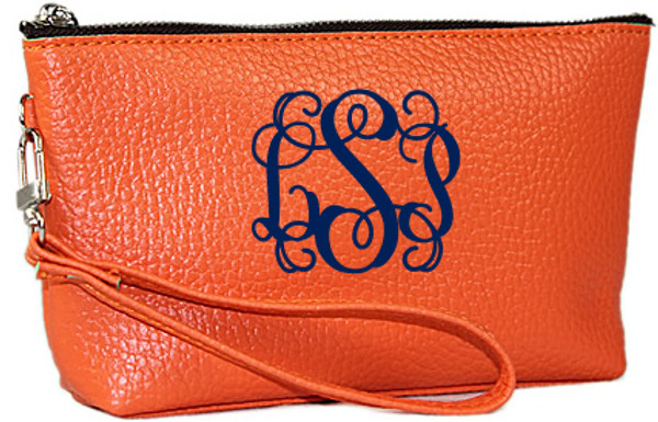 Monogrammed Leatherette Wristlet www.tinytulip.com Orange with navy interlocking
