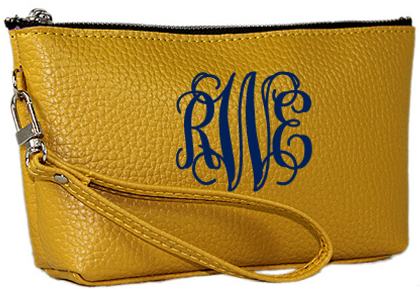 Monogrammed Leatherette Wristlet www.tinytulip.com Mustard with Navy Interlocking