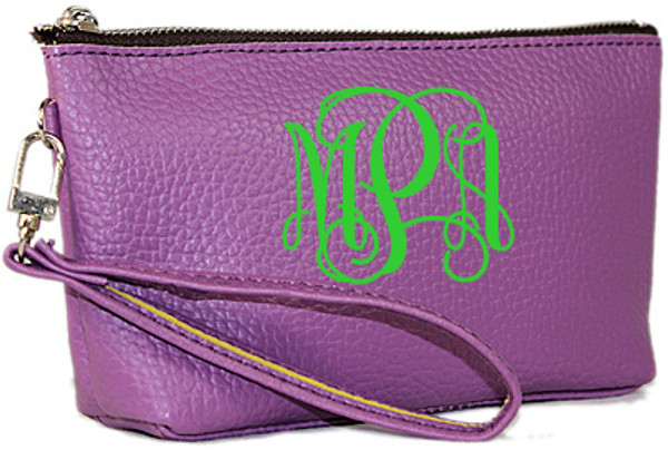 Monogrammed Leatherette Wristlet www.tinytulip.com Purple with Lime Green Interlocking