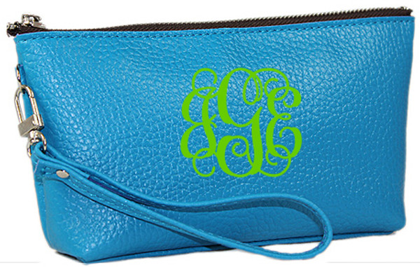 Monogrammed Leatherette Wristlet www.tinytulip.com Blue with Lime Green Interlocking