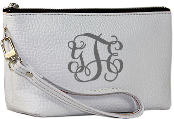 Monogrammed Leatherette Wristlet www.tinytulip.com White with Gray Interlocking