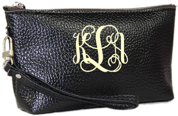 Monogrammed Leatherette Wristlet www.tinytulip.com Black with Cream Interlocking