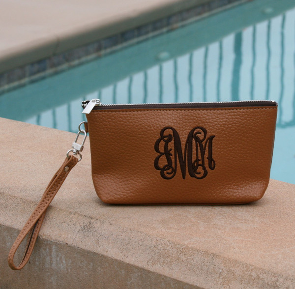 Monogrammed Leatherette Wristlet www.tinytulip.com Brown with Black Interlocking