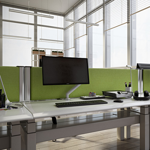 Acoustic Desk Partitions Screens Straight Top With Aluminium Edges