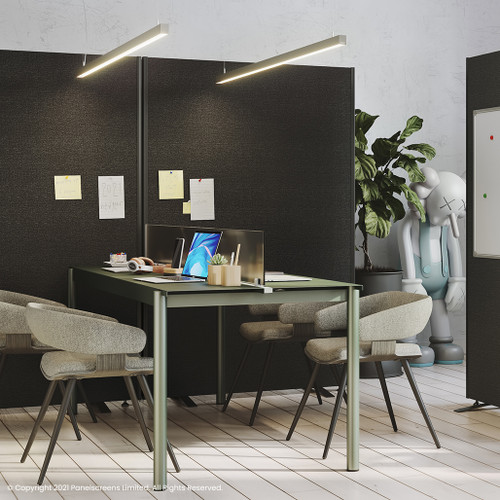 Acoustic partition screens that divide the office into separate areas and create privacy through sound absorbing panels, being ideal for an office, breakout area, home office, classroom, hospital or clinic. Acoustic Freestanding Office Screen With UK Fast Delivery - in the office placement.