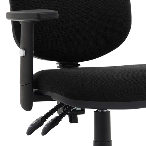 Office chair: Black task operator chair with height adjustable arms for the office, with dished seat, contoured back, waterfall front and gas lift lever for height adjustment. Eclipse Plus II task & operator chair, with arms, adjustable for height and back angle - adjustable arm in front view.