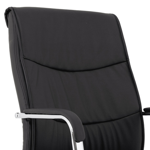 Office Executive chair: Black Luxury Faux Leather Executive Chair with high backrest covered in vegan leather upholstery, deep foam and stitch details and padded armrests on a chrome base, with swivelling wheels. Carter Black Luxury Faux Leather Chair - Back view.