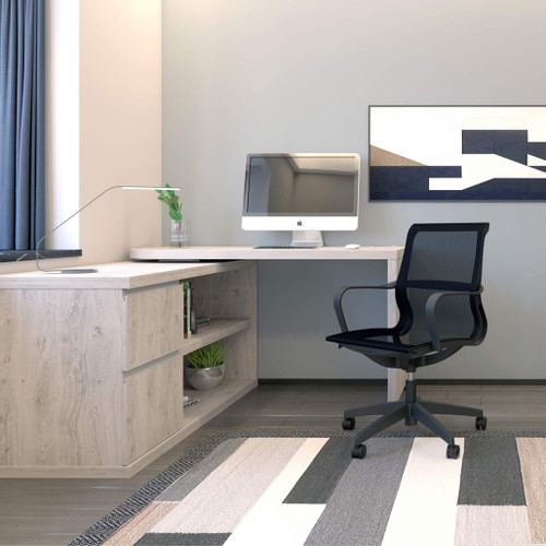 Fleur Smart Storage Office Desk With 360° Rotating Worktop, Grey Oak - Bright White