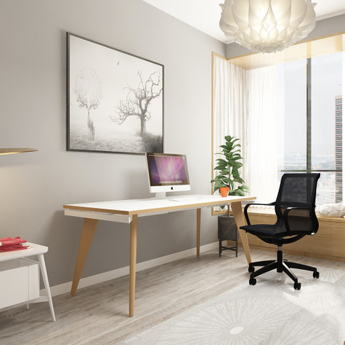 Oslo Single White A-Frame Bench Home Office Desk With Natural Wood Edge and Wooden Legs With Floor Levellers