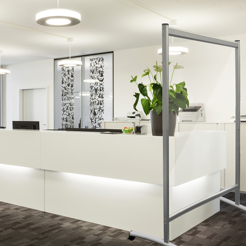 Mobile Office Partition Wall in Acrylic Glass and Silver Frame