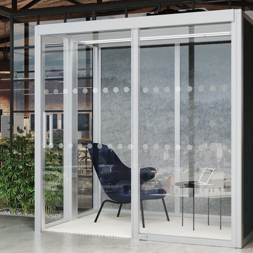 Partially Glazed Modular Acoustic Office Pod, 2m X 1.5m With Ceiling And Lights