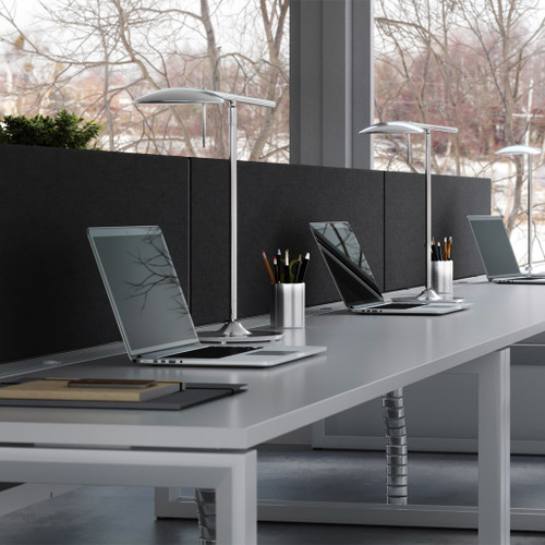 Black fabric budget desk screen with fast delivery width 1200mm x height 400mm