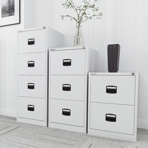 Bisley Qube Steel 2, 3 and 4 Drawer Filing Cabinets Office Storage
