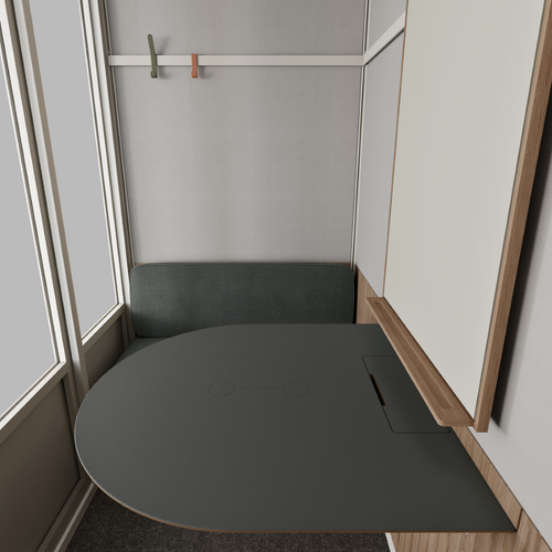 The acoustic meeting pod by Room can accommodate four people for inspiring ideas and negotiation in full privacy and focus - inside view - black table.