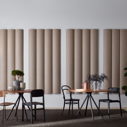 The Abstracta XL Sound Absorbing Walls are a great fit for large and noisy rooms - 4 light brown walls.