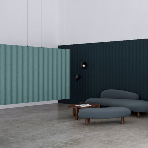 Abstracta Scala Hanging Sound Absorbing Dividers have the design of corrugated iron used for facades of the houses in Iceland - green.
