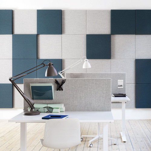 Abstracta Soneo Soundproof Wall Panel provides a simple, easy and versatile solution for noisy office spaces - blue and grey hues - front view.