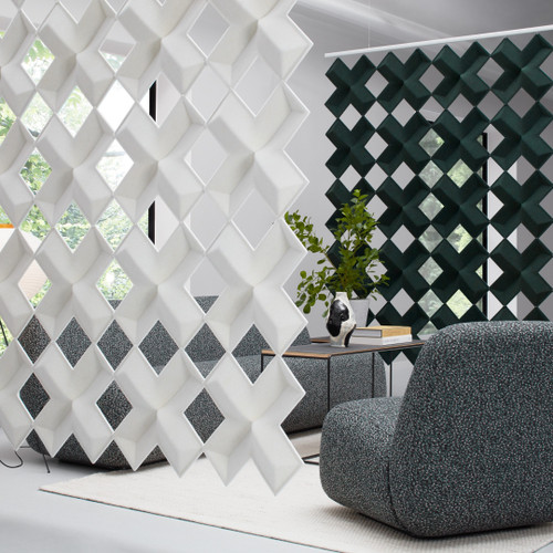 Created by Stefan Borselius for Abstracta, the Air-X screens are inspired by graphics and symmetries found in nature - white and dark green panels - front view - in office.