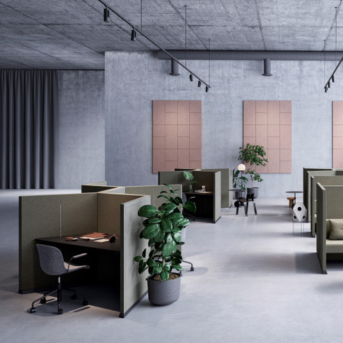The Hive workstation has been designed to make the most of challenging layouts - medium green - front - side view - in office.