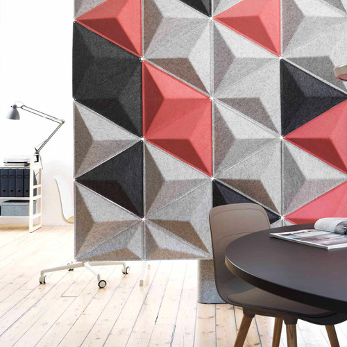 Abstracta Aircone acoustic screen truly demonstrates its sound absorbing performance under the challenge of an open office buzz - blue, black, white and grey - front view - in office.