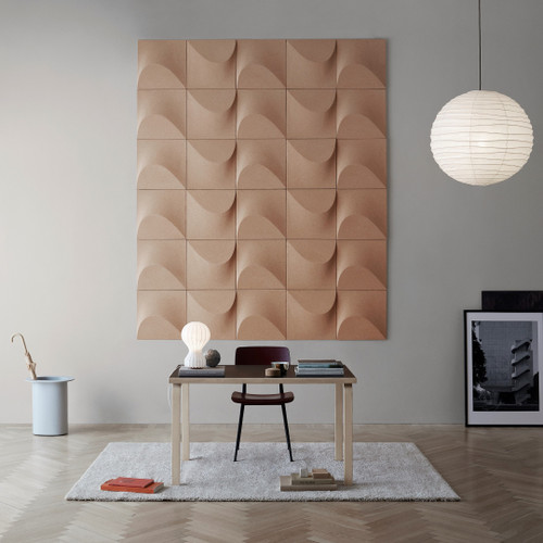 The sustainable Abstracta Sahara introduces kinetic art as the acoustic shield which favours any lively interior - light brown panel -  front view - in office.