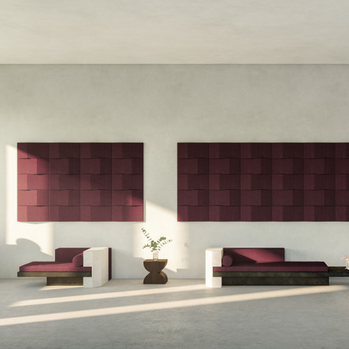 Abstracta Triline Wall Panels have a cubic shape and are oriented horizonatally or vertically in symmetrical or asymmetrical patterns - dark red - front view - in office.