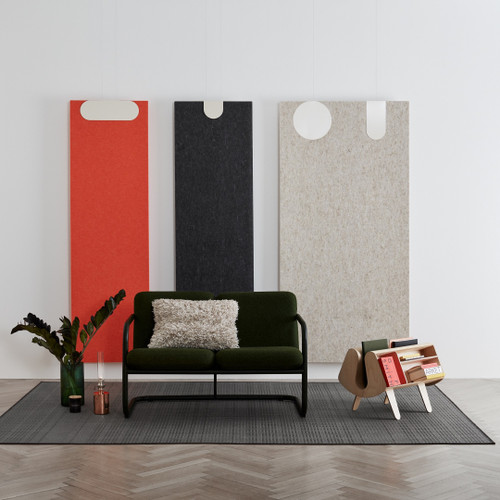 Abstracta Combo Deluxe are soundproofing panels in matching colors and sizes that may be installed on walls - red, black and white - front view - in office.