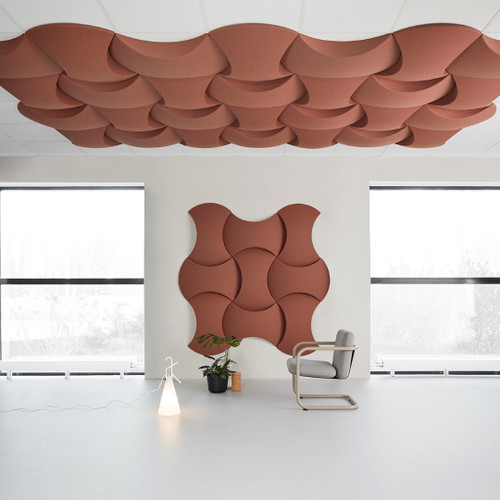 Abstracta Acoustic Sky Ceiling Panels are created using the modular technology that allows wasy personalisation - light brown - center - side view - in office.