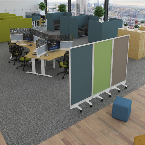 Fully Upholstered Mobile Free Standing Floor Screen with Aluminium Frame - in office.