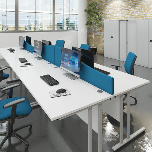 Fast Delivery Dams Wave Desk Screen with Brackets - blue - in office.
