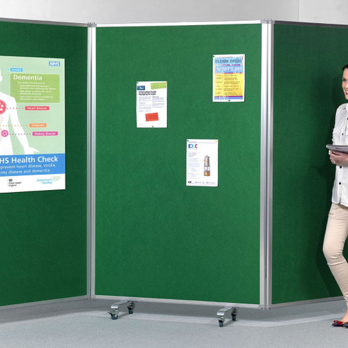 Tri Screen Mobile Partition and Display System with Locking Casters - green - in office.